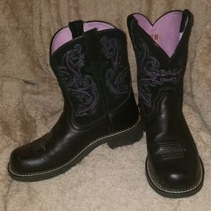 Ariat Fat Baby Black Leather Boots.